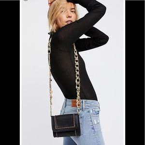 NWT Free People Black Gold Chainlink Crossbody
